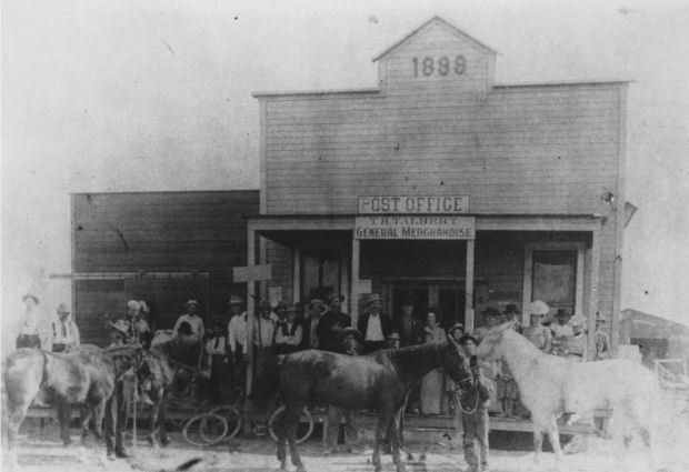 In 1899 residents of what would become Fountain Valley gathered to have their picture taken in front of the new Post Office and Talbert General Store. COURTESY FOUNTAIN VALLEY HISTORICAL SOCIETY