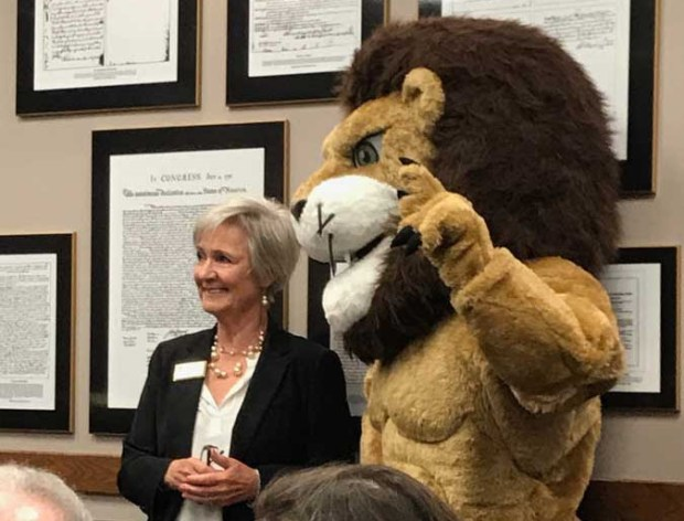 San Juan Capistrano Mayor Kerry Ferguson with J Serra Catholic High School's mascot at the June 20 City Council meeting. (Courtesy of J Serra Catholic High School)
