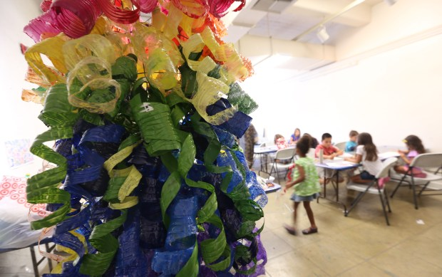 A sculpture created by kids hangs in an art class at Riverside Art Museum on Friday, June 30, 2017.(Stan Lim, The Press-Enterprise/SCNG)