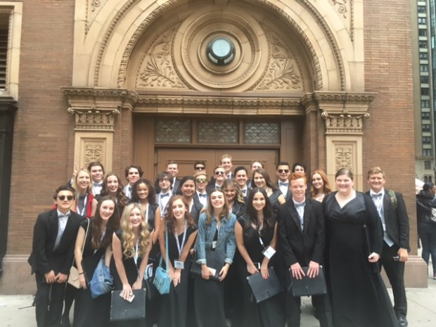 Singers from Foothill High in front of Carnegie Hall where they performed as a part of the National Festival Chorus in March 2017. (Photo courtesy of Chelsea Dehn)