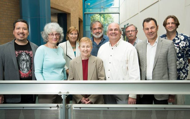 Members of the Academic Senate, from left: Alexandro Gradilla, Gayle Brunelle, Janice Myck-Wayne, past Academic Senate Chair Emily Bonney, John Patton, Stephen Stambough, Ron Oliver, Amir Dabirian and John Bruschke. (Photo courtesy of Cal State Fullerton)