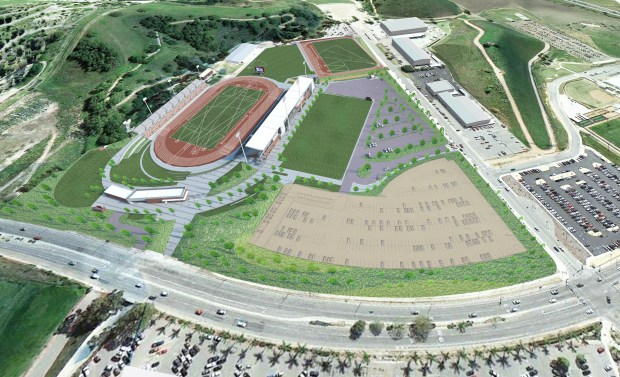 This rendering shows Hilmer Lodge Stadium on the campus of Mt. San Antonio College, following the completion of a $62 million upgrade that will enable the venue to expand to a seating capacity of more than 21,000. On Wednesday, June 28, Mt. SAC was awarded the 2020 USA Olympic Track & Field team trials by USATF.(Courtesy of Mt. SAC)
