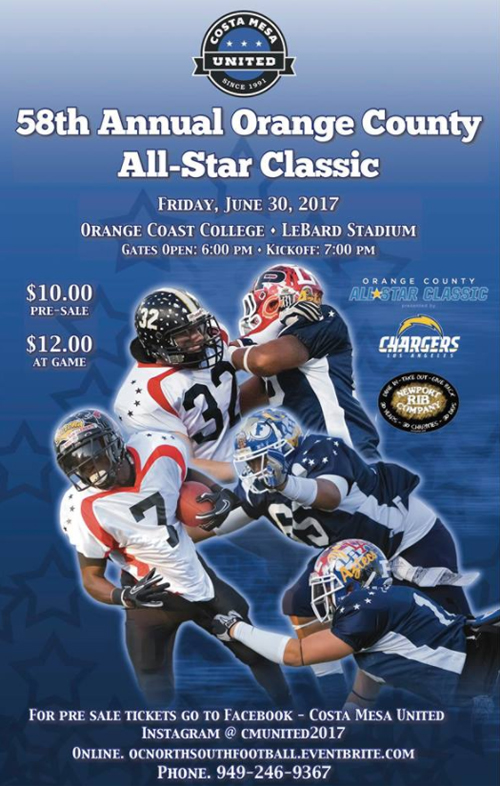 The poster for the 2017 Orange County All-Star Football  Game .