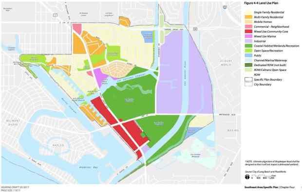 Color-coded map denotes proposed zoning in the Southeast Area Specific Plan. The red areas are where the most density would occur. (Image courtesy of city of Long Beach)