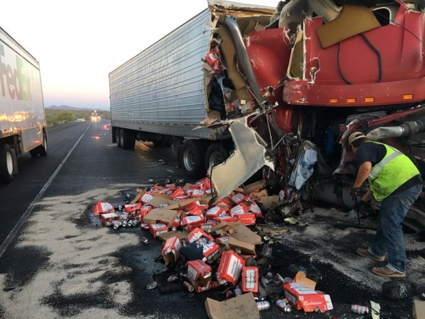 A beer truck and two other vehicles were involved in a crash on the eastbound 10 Freeway (courtesy of California Department of Transportation).
