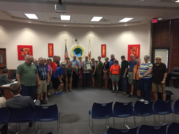 Laguna Woods City Council awards a proclamation to the Laguna Woods Village Rainbow Club in honor of Pride Month at the Wednesday, June 21 meeting. (Photo by Emily Rasmussen, contributing photographer)