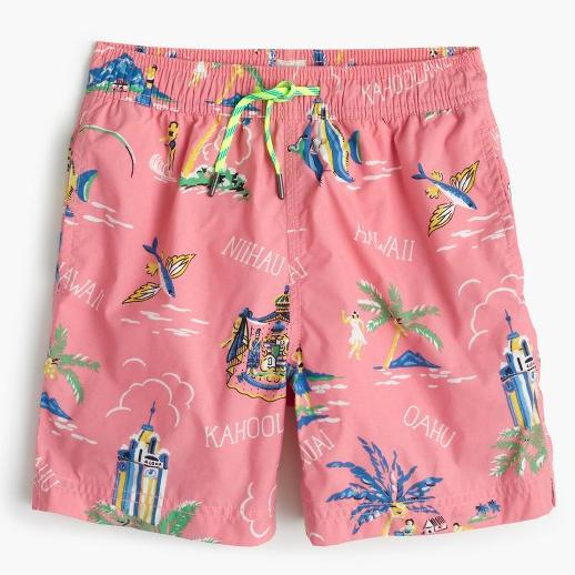 Hawaiian inspired trunks, JCrew, $55. (handout photo)