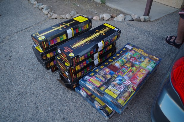 Authorities say two men are suspected of stealing about 200 pounds of confiscated fireworks from a building being used by the San Bernardino County Fire Department on June 27, 2017. (Courtesy of San Bernardino County Sheriff's Department)