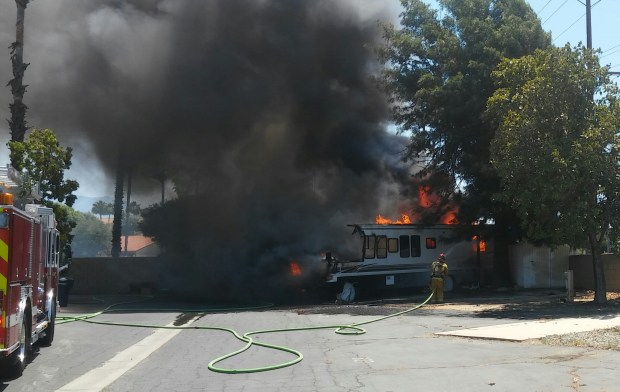 A fire consumed a mobile home on Thursday, June 22, 2017, displacing a family of four (Craig Shultz, The Press-Enterprise/Southern California News Group).