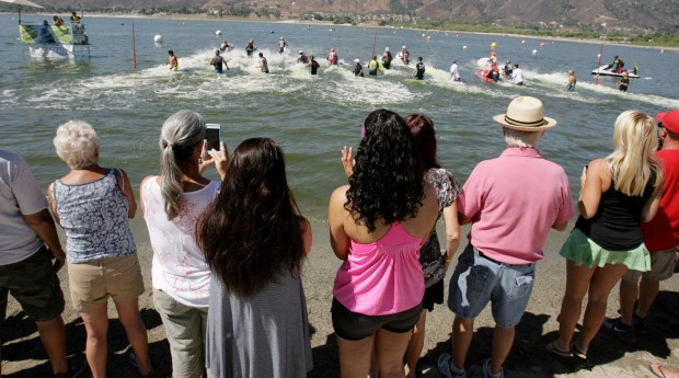 Race fans watch and cheer during the Championship jet ski races at Lake Elsinore.