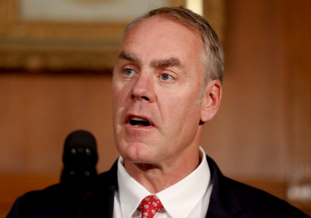 In this photo taken April 26, Interior Secretary Ryan Zinke speaks at the Interior Department in Washington. Ryan Zinke is recommending that the new Bears Ears National Monument in Utah be reduced in size and says Congress should step in to designate how selected areas of the 1.3 million-acre site are categorized. (AP Photo/Carolyn Kaster)