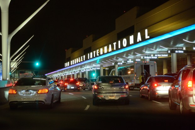 Traffic backs at the Bradley International Terminal at LAX Day: Friday, June 10, 2016 (6/10/16), Time: 9:37:06 PM, Location: Los Angeles, California - Shanghai Travel - JEFF GRITCHEN, STAFF PHOTOGRAPHER