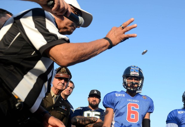The referee makes the coin toss.The Orange County All-Star Classic high school football playing was played at Orange Coast College in Costa Mesa, CA on Friday, June 30, 2017. (Photo by Bill Alkofer,Orange County Register/SCNG)