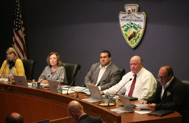 San Bernardino County supervisors listen to public comments during a November 2016 meeting.
