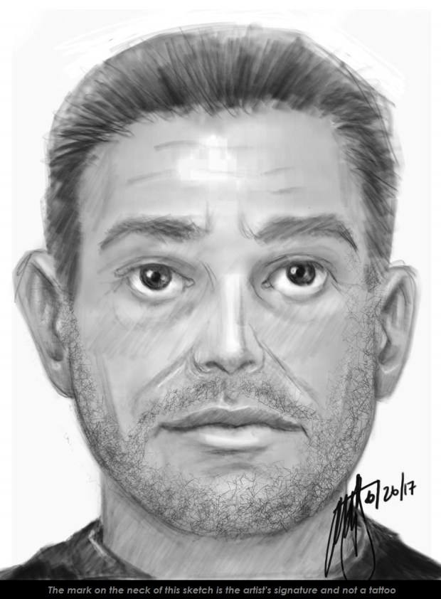 Riverside police are asking for the public's help to find a man suspected of kidnapping and sexually assaulting a girl Sunday, JUne 25, 2017. (Sketch courtesy of Riverside Police Department)