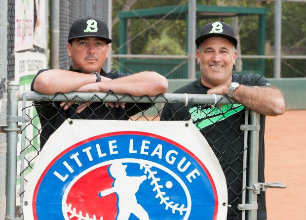 CJ Ankrum, left, and Craig Strenger are Rancho Santa Margarita Little League and travel ball coaches in Rancho Santa Margarita on Wednesday, June 7, 2017. (Photo by Sam Gangwer, Orange County Register/SCNG)