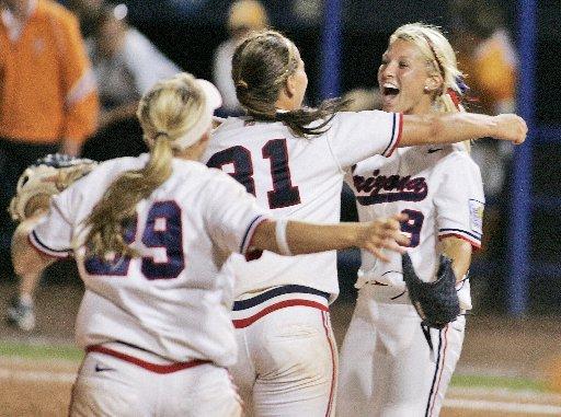 Taryne Mowatt celebrates after Arizona won the 2007 Women's College World Series. (AP file photo).