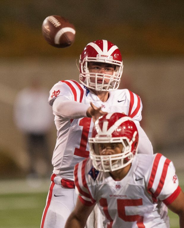 Mater Dei quarterback JT Daniels fires a pass in the third quarter against Edison in Costa Mesa on Friday, September 23, 2016. (Photo by Paul Rodriguez, Orange County Register/SCNG)