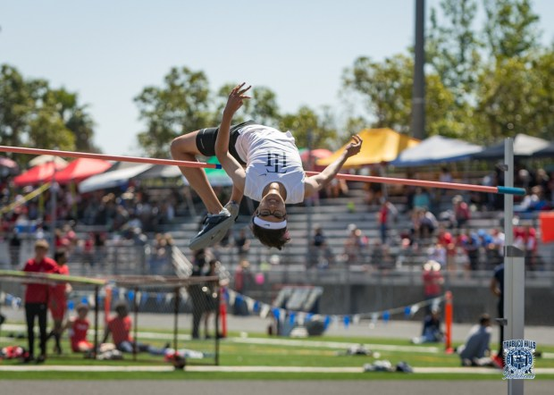 Lee is the state champion in the high jump (Photo courtesy of Trabuco track).