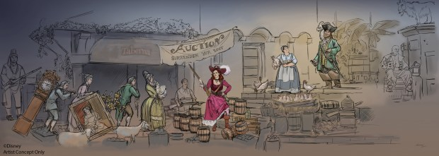 Concept art for the revised auction scene that will debut in early 2018 in Pirates of the Caribbean at Disneyland. (Photo courtesy, The Disneyland Resort)