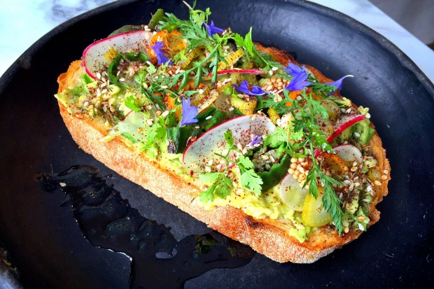 The avocado toast at Matthew Kenney's Plant Food & Wine in Venice is garnished with kumquats, celery, radishes, herbs, flowers and seeds. (Photo by Brad A. Johnson, Orange County Register/SCNG)