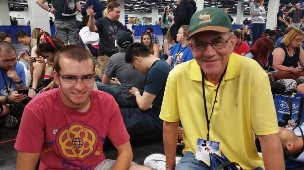Mitchell and Arthur Mason wait in linefor the Disney Parks and Resorts Panel Saturday, July 15 at the D23 Expo. (Photo by Joseph Pimentel, Orange County Register/SCNG)