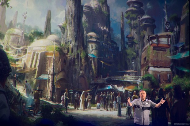 Scott Trowbridge, creative portfolio executive at Walt Disney Imagineering, shares artist concepts and features for Galaxy's Edge during a Parks and Resorts panel at the D23 Expo at the Anaheim Convention Center in Anaheim on Saturday, July 15, 2017. (Photo by Matt Masin, Orange County Register, SCNG)