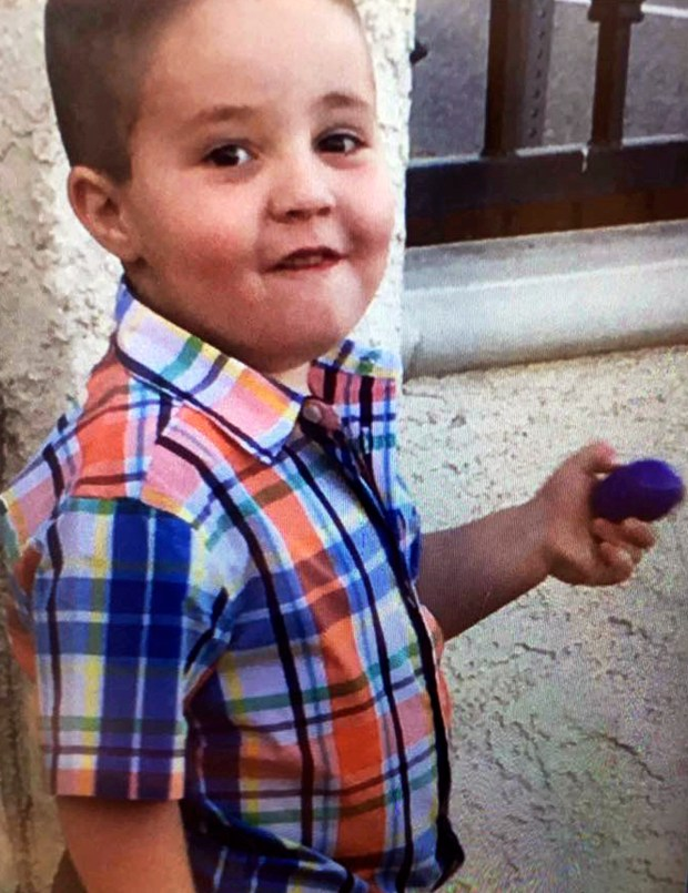 This undated photo posted on the South Pasadena Police Department's Facebook page shows Aramazd Andressian, Jr., as they seek the public's help in locating him. Authorities throughout Los Angeles County are searching for the 5-year-old, reported missing after paramedics found his father passed out in a park. Police in South Pasadena say the boy's mother reported Saturday, April 22, 2017, that her estranged husband had failed to drop the boy off at a pre-arranged meeting place. (South Pasadena Police Department via AP)