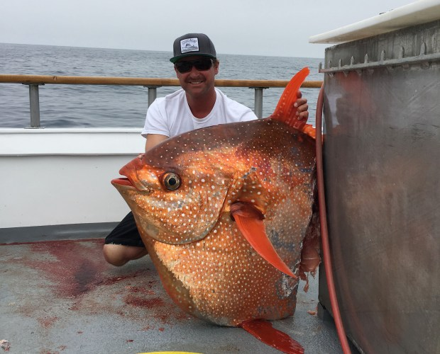 Capt. Bo Daniel holds an opah he got after a mako shark caught it off Dana Point in June. (Courtesy of Dana Wharf Sportfishing and Whale Watching)