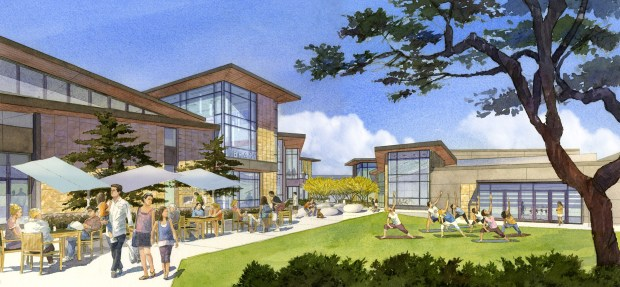 The proposed project includes a 45,000-square-foot two-story library, a 13,500-square-foot one-story arts center and surface parking. (Courtesy of the city of Yorba Linda).