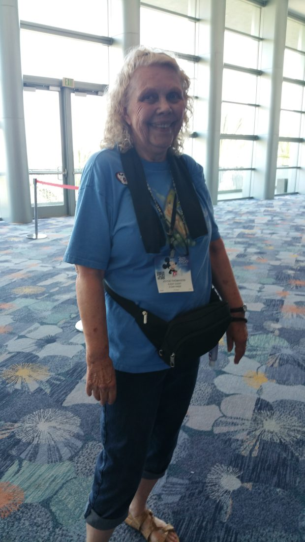 Joyce Thomason, from Orange, is frustrated by the hours-long lines at Disney's D23 Expo at the Anaheim Convention Center, July 14, 2017. (Photo by Joseph Pimentel | SCNG)