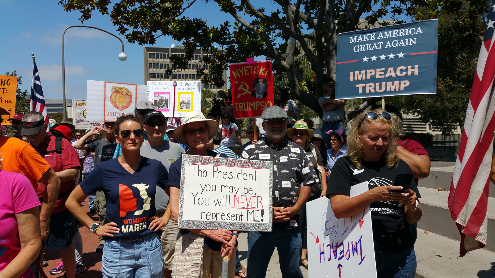 Thousands Gather in Downtown Los Angeles Calling for Impeachment of President Trump