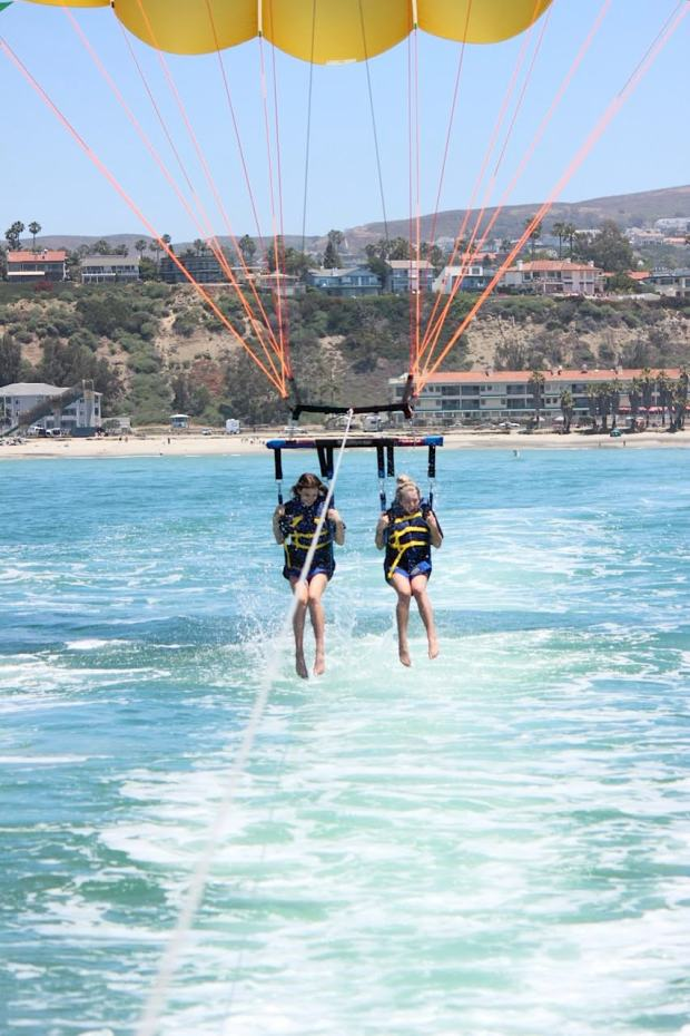 A pair of parasailers hover just above the water in Dana Point, where sharks have been seen regularly. (Photo courtesy of Donna Kalez)