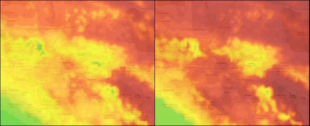 Another heat wave is coming to Southern California; the map on the left shows high temperatures expected on Monday, July 3, and the map on the right is for Friday, July 7.