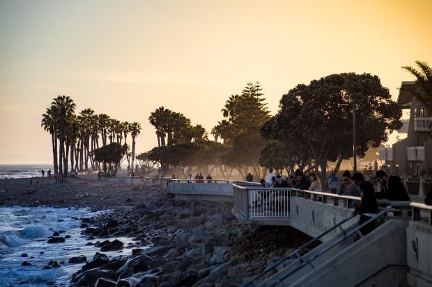 Ventura beach promenade at sunset
