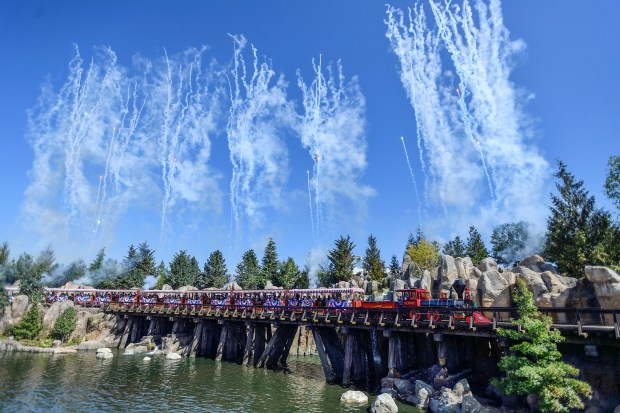 Disneyland Railroad engine #1, C.K. Holliday, makes its way over the new trestle bridge that separates Frontierland and the Rivers of America from the new Star Wars land named Galaxy's Edge in Anaheim, California, on Friday, July 28, 2017. (Photo by Jeff Gritchen, Orange County Register/SCNG)