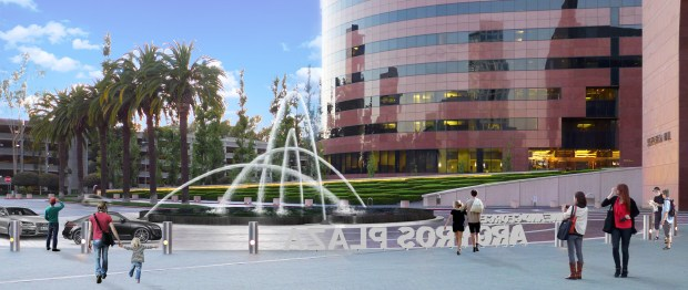 The new fountain occupies the center of the traffic circle in front of the Segerstrom Center's two main venues. (Courtesy SCFTA)