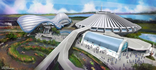 Walt Disney Parks & Resorts Chairman Bob Chapek announced during the 2017 D23 Expo that the most popular attraction at Shanghai Disneyland is coming to Walt Disney World Resort. A thrilling, Tron-themed attraction will be added in a new area near Space Mountain at the Magic Kingdom theme park as seen in this artist concept painting. (Photo courtesy, The Walt Disney World Resort)