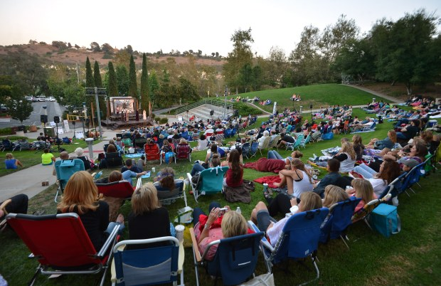 People brought their own lawn chairs and blankets watch Shakespeare by the Seas free outdoor performance of Hamlet, Prince of Denmark, at Laguna Niguel's Crown Valley Community Park. (Photo by Steven Georges/OC Register)