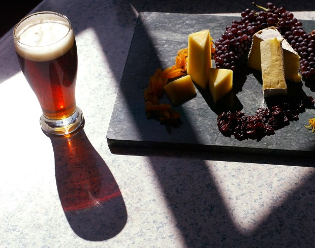 Amber beer goes well with cheese served at Taps Fish House and Brewery in Brea. (Photo by Cindy Yamanaka, Orange County Register/SCNG_