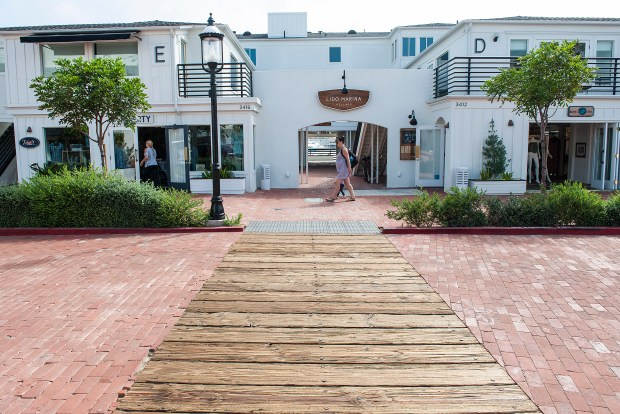 A boardwalk detail acts as a cross walk at Lido Marina Village, which as been renovated for a more modern feel in Newport Beach, on Thursday, August 10, 2017. (Photo by Nick Agro, Orange County Register/SCNG)