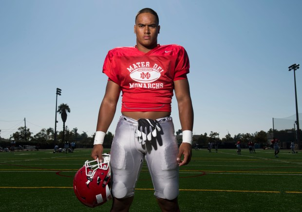 Mater Dei inside linebacker Solomon Tuliaupupu, one of the many weapons that helps make Mater Dei football the No. 1 team in the O.C. Preseason Top 25 football rankings. Photographed in Santa Ana, CA on Friday, August 11, 2017. (Photo by Kevin Sullivan, Orange County Register/SCNG)