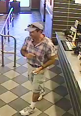 Authorities say this man – who is a white man between the ages of 30 and 50 – became angry at employees at the Carl's Jr. at 3370 La Sierra Ave., left the restaurant and then stabbed a man several times in the parking lot. Courtesy of Riverside Police Department