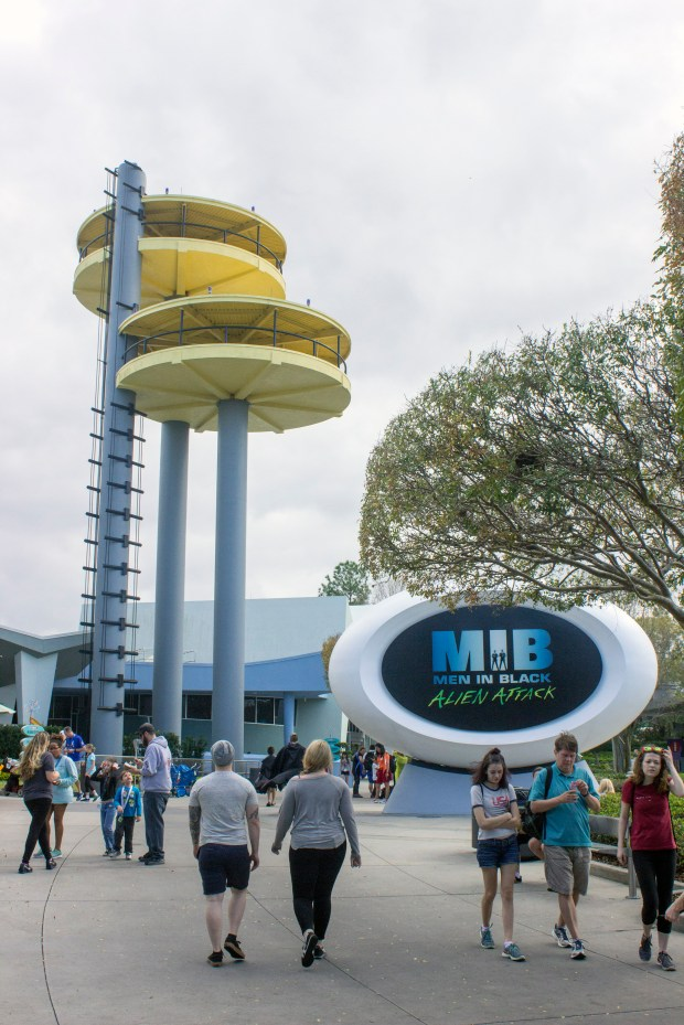 Men in Black Alien Attack is a ride-through attraction at Universal Studios Orlando. Rider board vehicles and protect the planet by shooting at a variety of aliens from other planets threatening the Earth. Riders also score points during the ride. (File photo by Mark Eades, Orange County Register/SCNG)