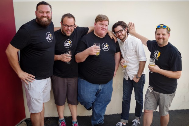 Joshua Hamilton of Hamilton Family Brewery with the Four Brewers podcast hosts John Holzer, Jason Harris, Matt Becker and Greg Nagel.