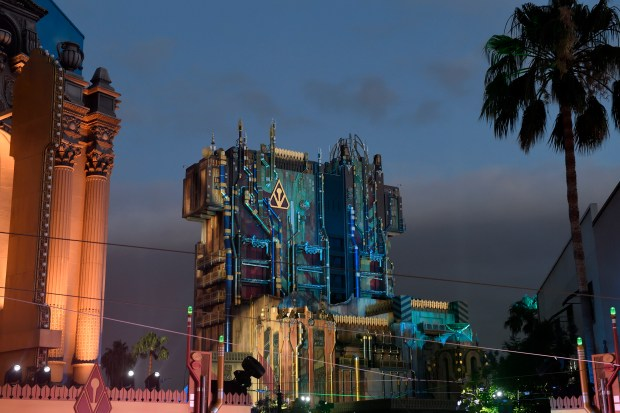 Guardians of the Galaxy: Mission Breakout! as it currently appears at night. The new Halloween version will see a nightly transformation of the exterior lighting as the attraction becomes: Guardians of the Galaxy Ð Monsters After Dark for the spooky season. (File photo by Jeff Gritchen, Orange County Register/SCNG)