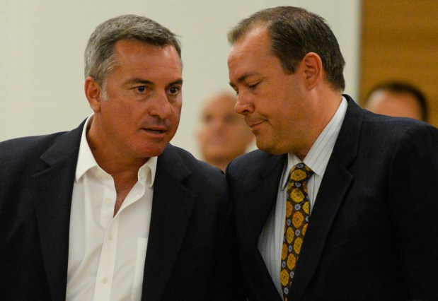 Former San Bernardino County Supervisor Paul Biane, left, and Mark Kirk, the former chief of staff for San Bernardino County Supervisor Gary Ovitt, are found not guilty of all charges in the Colonies corruption case verdict hearing at San Bernardino Superior Court in San Bernardino, Calif. on Monday, Aug. 28, 2017. Defendants Biane, kirk, developer Jeff Burum were found not guilty after a marathon trial that has lasted nearly eight months. (Photo by Rachel Luna, The Sun/SCNG)