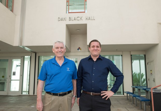 Dan Black, one of the biggest donors to Cal State Fullerton, stands with his grandson Karl Freels, a doctoral candidate in the College of Education on Aug. 16. (Photo by Nick Agro, Orange County Register/SCNG)