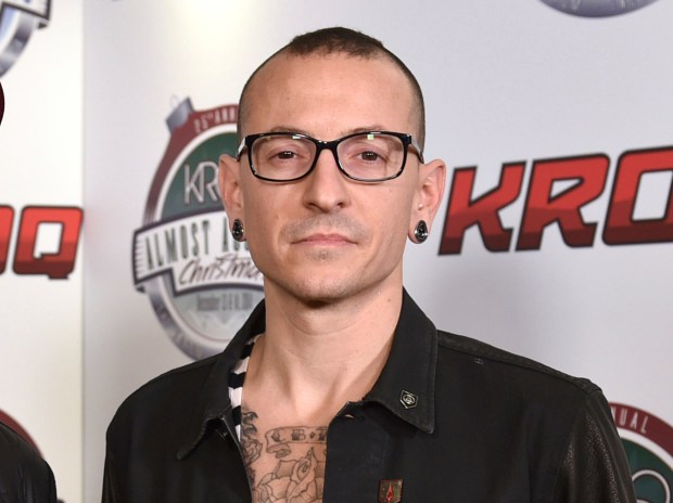 Chester Bennington poses in the press room at the 25th annual KROQ Almost Acoustic Christmas in Inglewood, Calif. Bennington died on July 20, 2017. He was 41. (Photo by John Shearer/Invision/AP, File)