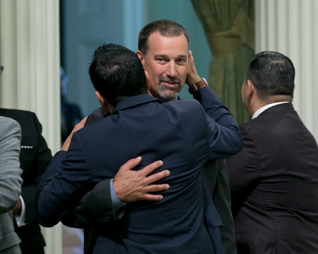 Assembly Republican Leader Brian Dahle of Bieber is congratulated by Assembly Speaker Anthony Rendon, D-Lakewood, after Dahle was chosen as GOP caucus leader in Sacramento on Thursday, Aug. 24. Dahle replaces Chad Mayes of Yucca Valley as leader of the Assembly's 25 Republicans.